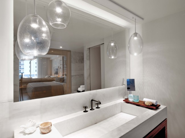 space lighting miami. One Hotel Miami Has Installed Pendants In Their Well Designed Baths. Reflection The Mirror Adds Dimension To An Already Ample Space. Space Lighting